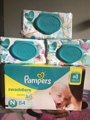 NEWBORN PAMPERS SWADDLERS (84 DIAPERS + 168 WIPES)- -$25 FOR ALL !! for Sale in Riverdale, GA