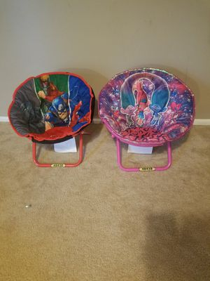 Marvel and trolls kids chairs for Sale in Wheaton, IL