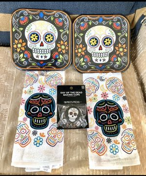 Sugar Skull Day of the Dead Kitchen Towels and Plates for Sale in Lemoyne, PA