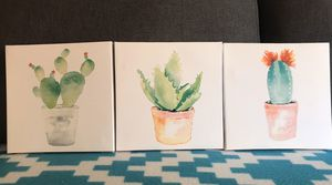 Super Cute set of 3 Succulent Watercolors! 8x8 for Sale in Pittsburgh, PA