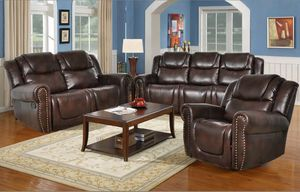New 3pc Reclining set Brown bonded leather for Sale in Kent, WA