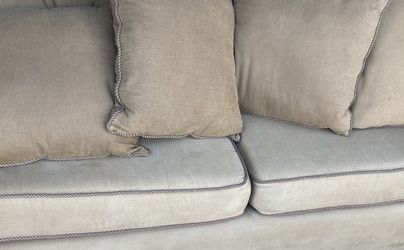 84 x 40 x 32 sofa comfy suede lots of pillows couch 3 seater living room for Sale in Schaumburg,  IL