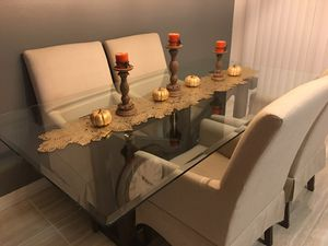 Rustic Wooden Modern Glass Dining Table Set with 4 Chairs for Sale in Arvada, CO