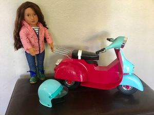 MOTORCYCLE & HELMET FOR OUR GENERATION DOLL OR AMERICAN GIRL DOLL! VERY GOOD CONDITION!** DOLL NOT INCLUDED BUT CAN BE PURCHASED FOR $18 for Sale in Modesto, CA