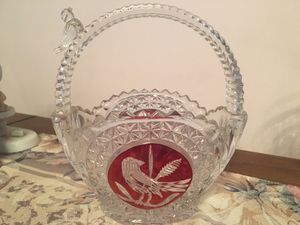 """Cut glass """"basket"""" w/ red bird ... never used for Sale in Manassas, VA"""