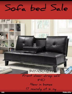 Leather Sofa bed Brand new Sofa bed Cup holder / Futon bed sale brand new in boxes. Pick up . 17 mandy court staten Island ny No transportation. N for Sale in Yonkers, NY