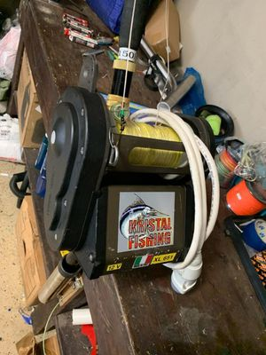 Kristal fishing electric reel 651XL for swordfish fishing with Aftco Custom swordfish Rod , Deep drop fishing for Sale in Miami, FL