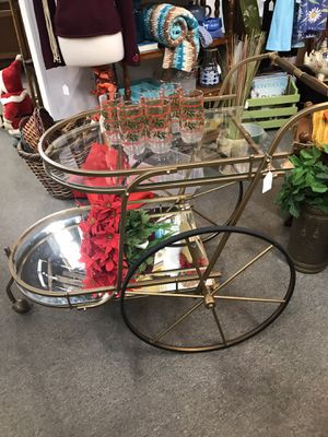 Vintage mid century bar cart 3 wheels for Sale in San Marcos, CA