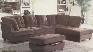New espresso corduroy sectional couch with storage ottoman for Sale in Renton, WA