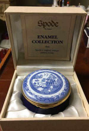 English Enamel Trinket Box Staffordshire Spode~Blue Willow for Sale in Naples, FL