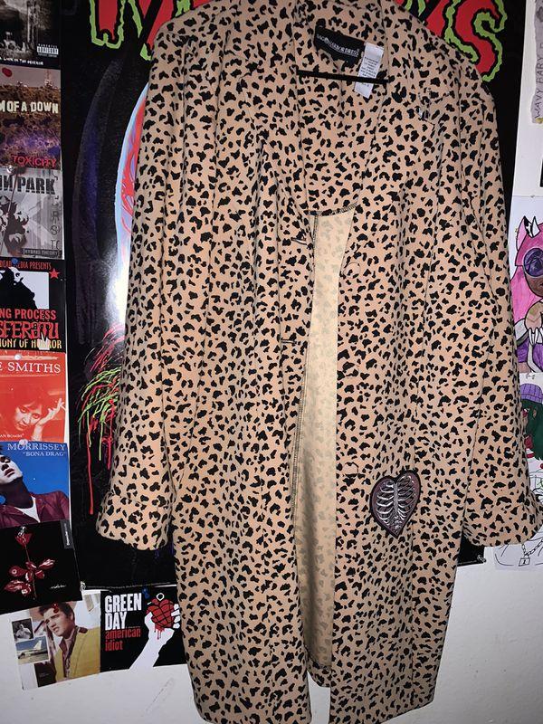 Vintage leopard trench coat