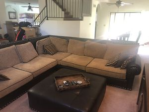 Faux leather three piece sectional couch for Sale in Scottsdale, AZ