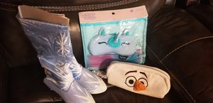 Frozen ll boots, Olaf pencil case, sleepover kit for Sale in Riverview, FL
