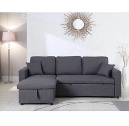 Linen Pull Out Sectional Sofa Bed -GREY for Sale in Pomona,  CA