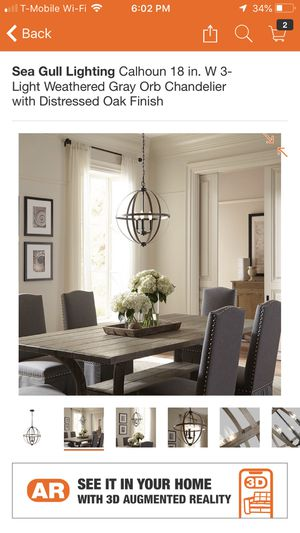 Sea Gull Lighting Calhoun 18 in. W 3-Light Weathered Gray Orb Chandelier with Distressed Oak Finished look In the store price $119 plus tax and I hav for Sale in Hesperia, CA