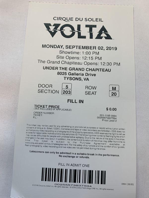 2 tickets Cirque Du Soleil