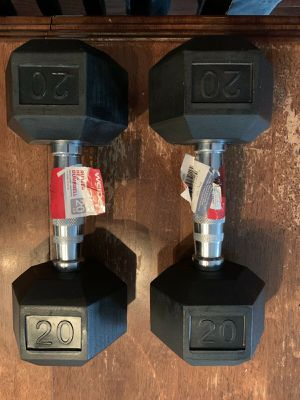 Brand New: 20lb Pair of Rubber Coated Hex Dumbbells Weights 40lb Total for Sale in Watertown, MA