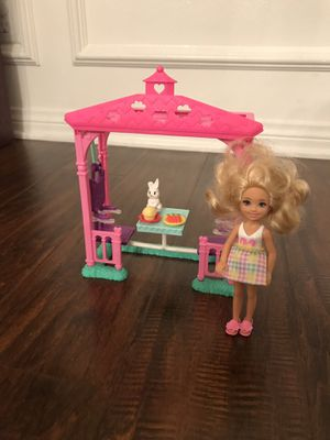 Kelly? Swing set with bunny, carrots and cupcake plus doll with skirt and shoes. for Sale in Monrovia, CA