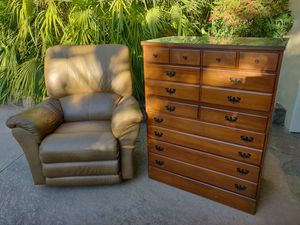 Free Dresser and leather chair for Sale in Orange, CA