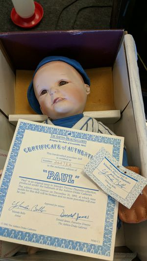 PORCELAIN BABY BASEBALL BOY DOLL for Sale in Leesburg, VA