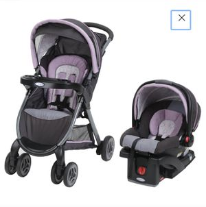 Graco FastAction Fold Click Connect Travel System, Janey (car seat+base+stroller) complete system for Sale in Las Vegas, NV