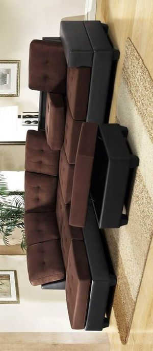 Heights chocolate reversible sectional with storage ottoman for Sale in Houston, TX