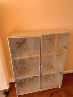 Wooden cabinet small frosted glass doors metal for Sale in Takoma Park, MD