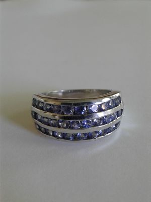Genuine Tanzanite Ring, Size 7, Platinum over Sterling Silver for Sale in Woodbridge, VA