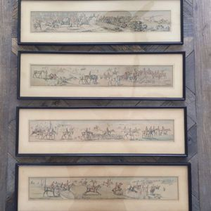 "Set of 4 Wall Framed Antique Prints by Henry Thomas Alken 26 1/4"" L x 7 1/2"" W for Sale in West Palm Beach, FL"
