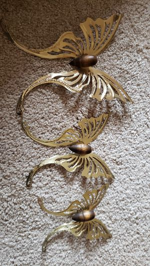 Vintage Brass Butterflies - 3 Wall Hanging Accents - Gold Metal & Wood Butterfly Art - Bohemian Home Decor for Sale in Summerfield, NC