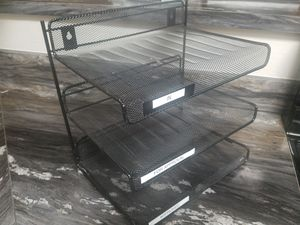 Mesh Metal Desk Desktop 3 Tier Shelf Tray Document Organizer Rack Letter Size for Sale in Las Vegas, NV