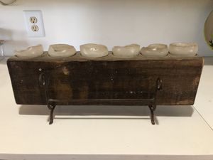 Rustic primitive style candle holder with 6 candles for Sale in Denton, TX