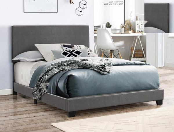 [SPECIAL] Erin Gray Faux Leather Queen Bed | 5271 (King , Twin ,Full sizes available)