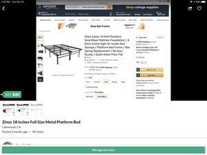 Zinus 18 Inch Full Size Metal Platform Bed Frame for Sale in Lakewood, CA
