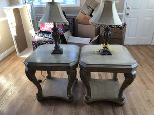 2 gorgeous wooden side tables with lamps for Sale in Washington, DC