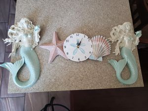 Mermaid & seashell clock wall Decor for Sale in Paramount, CA