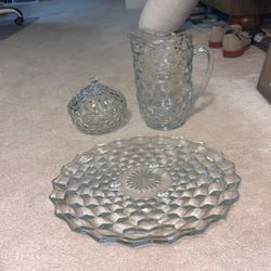 Crystal Glass, Pitcher, Candy Dish, And Cake Plate. for Sale in Virginia Beach,  VA