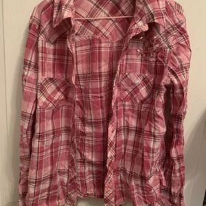 Limited Too Pink Flannel Long Sleeved Shirt Girls S 10 Cotton Flowers SnapButton for Sale in Centreville, VA
