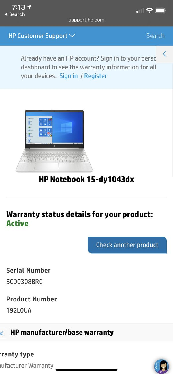 New HP Notebook 15-dy1043dx