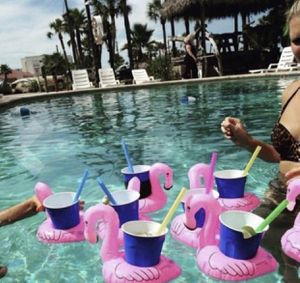 New set of 2 inflatable Flamingo drink cup holders for the pool, jacuzzi, tub, etc.. for Sale in St. Petersburg, FL