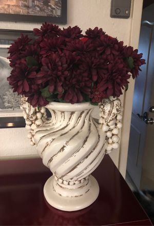 Ceramic vase with burgundy flowers for Sale in Poway, CA