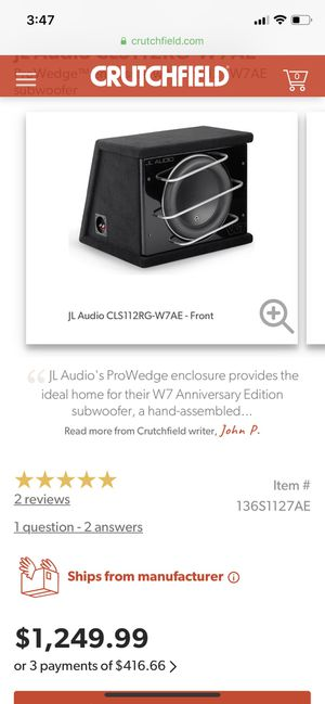 JL W7 Sub 12 for Sale in Tacoma, WA