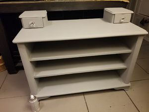 Preowned grey shelf solid wood with two small drawers with glass crystal knobs $60 firm for Sale in San Antonio, TX