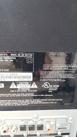 Sony sound bar and subwoofer for Sale in Rancho Cucamonga, CA