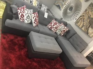 Brand New Reversible Grey Linen Sectional Sofa Couch + Ottoman for Sale in Kensington, MD