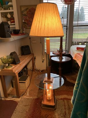 "Amazing wood & glass lamp top & bottom lights with table. 58"" with shade. Rochester wa for Sale in Rochester, WA"
