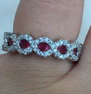 New 925 oval cut red ruby ring size 7 for Sale in Stockton, CA