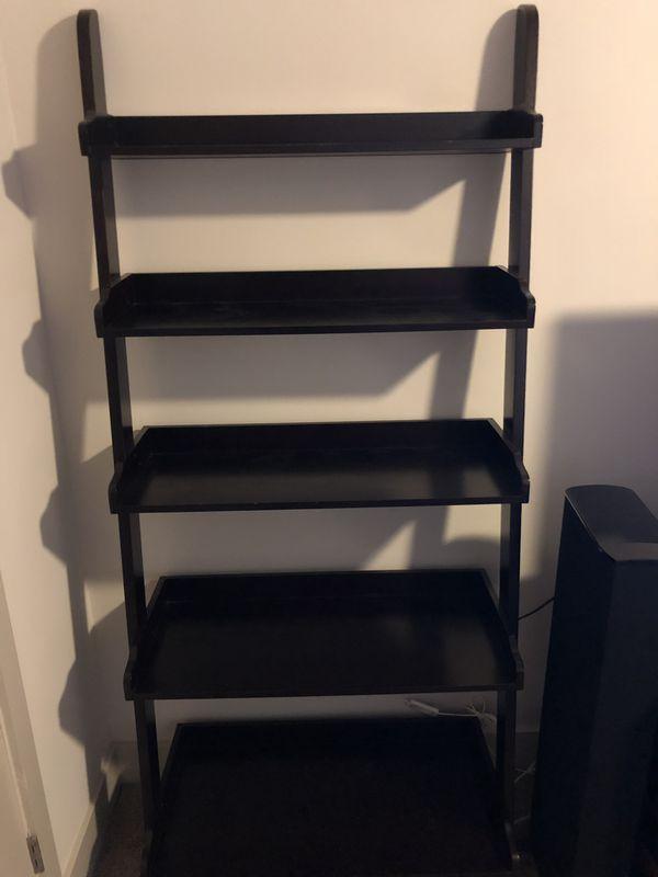 Ladder Bookcase 5-Tier Wood Leaning Shelf Wall