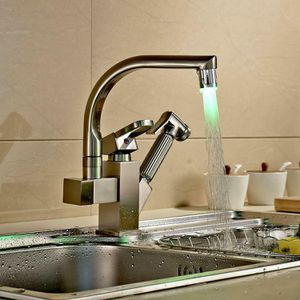 Brushed Nickel LED Kitchen Faucet Sink Pull Out Sprayer Swivel Spout Mixer Tap for Sale in New York, NY