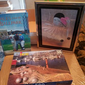 """Household Various #1 - Puzzle & Tales From the Ballpark Book + Framed Picture 8""""×10"""" - All New for Sale in Chino, CA"""